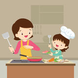 Daughter cooking with mam. Happy family with mom and children cooking in kitchen vector cartoon illustration royalty free illustration