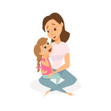 The daughter is crying. And her mother is calming and taking care. Mom and child are sad. Girl is wiping tears and a woman is hugging her. Cartoon vector stock illustration