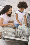 daughter dishwasher loading mother Στοκ Εικόνες