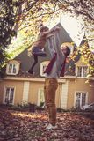 Daughter and father have play outside. On the move. stock photography
