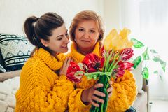 Daughter giving her mother bouquet of flowers at home as Mother`s day present wearing similar sweaters stock photos