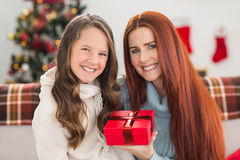 Daughter giving her mother a christmas present Stock Photography