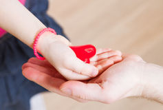 Daughter and her father holding a red heart in their hands Royalty Free Stock Photography