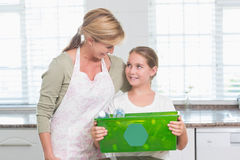 Daughter holding recycling box with her mother Stock Image