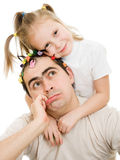 Daughter hugging her father Royalty Free Stock Photo