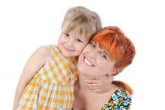 Daughter hugging her mother. Royalty Free Stock Photography