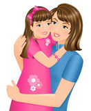 Daughter hugging her mother royalty free illustration