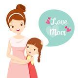 Daughter Hugging Her Mother. Mother's Day Mother Embracing Hug Daughter Love Children royalty free illustration
