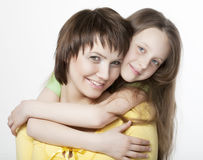 Daughter Hugging Mother. Happy Family Royalty Free Stock Image