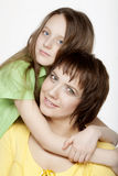 Daughter Hugging Mother. Happy Family Royalty Free Stock Images