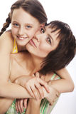 Daughter Hugging Mother. Happy Family Royalty Free Stock Photo