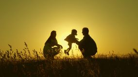 Daughter jumping in her father`s arms in park. Family concept. Walking with a small kid in nature. Child plays with dad stock video footage