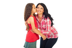 Daughter kissing mother Royalty Free Stock Photography