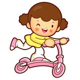 Daughter Mascot riding Kickboard. Home and Family Character Desi Royalty Free Stock Images