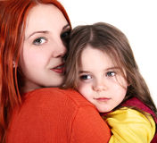 Daughter with mother. Sad girl on the shoulder of her mother Stock Photo