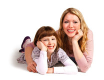 Daughter and mother. Hugging on white background Stock Photo