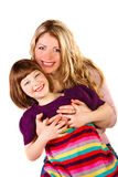 Daughter and mother. Hugging on white background Royalty Free Stock Photos