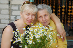 Daughter and mother. With camomile Royalty Free Stock Photos