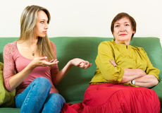 Daughter and  mother arguing about something Stock Photography