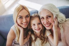 Daughter, mother and grandmother at home Stock Images