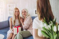 Daughter, mother and grandmother at home Stock Photography