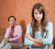 Daughter and  mother having quarrel Stock Photos