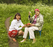 Daughter and mother on picnic stock photo
