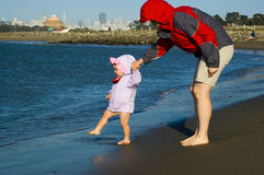 Daughter and mother by the San Francisco Bay Stock Photography
