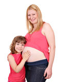 Daughter and pregnant mother. Happy daughter and pregnant mother Royalty Free Stock Photos