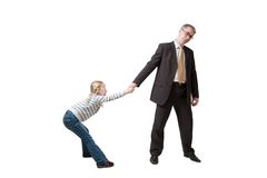 Daughter pulls father for hand Royalty Free Stock Image