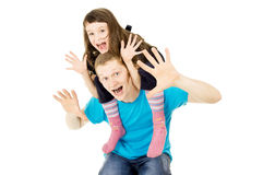 Daughter sitting on the shoulders of the father Stock Photography