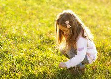 Daughter at sunset playing royalty free stock photography