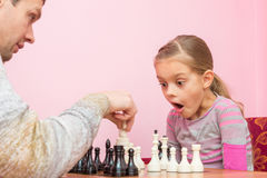 Daughter was surprised and opened her mouth when dad killed another piece on the chessboard Stock Image