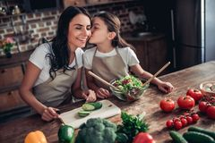 Daughter and mother preparing fresh sald royalty free stock photo