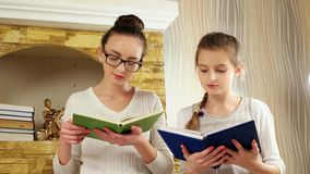 Daughters doing homework near fireplace, girls reading books, children spend free time together stock video