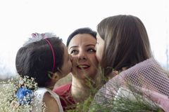 Happy mother`s day with children stock image