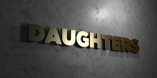 Daughters - Gold text on black background - 3D rendered royalty free stock picture. This image can be used for an online website banner ad or a print postcard Stock Photography
