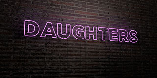 DAUGHTERS -Realistic Neon Sign on Brick Wall background - 3D rendered royalty free stock image. Can be used for online banner ads and direct mailers Royalty Free Stock Image