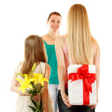 Daughters send greetings and presents to mother Stock Images