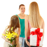 Daughters send greetings and presents to mother Royalty Free Stock Images