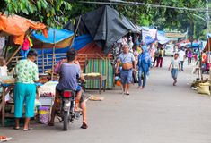 Dauin, Philippines - 9 September, 2017: Provincial filipino street market. Asian village streetlife. stock photography