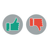 Daumen auf und ab die roten und grünen Ikonen Lizenzfreie Stockfotos