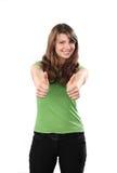 Daumen der jungen Frau oben auf weißem Hintergrund Lizenzfreie Stockfotografie