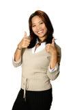 Daumen herauf asiatische Frau Lizenzfreies Stockbild