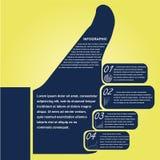 Daumen infographic, Designschablone Stockbild