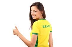 Daumen oben für Brasilien. Lizenzfreies Stockfoto