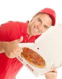 Daumen oben für Pizza stockfotografie