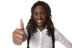 Daumen oben mit großem Lächeln Lizenzfreies Stockfoto