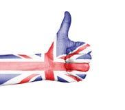 Daumen oben - Vereinigtes Königreich Lizenzfreie Stockfotos