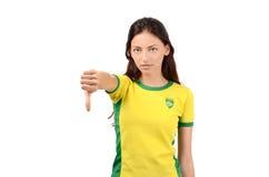 Daumen unten für Brasilien. Stockbilder